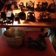 A load of copper toys plus ceramics for e.g,  ship in a bottle.figures,